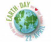 Vector Vintage Poster For Earth Day. Earth Day 22 April. We Love Our Planet. poster