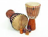 stock photo of idiophone  - African djembe drums and caxixi shakers - JPG