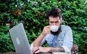 Good Morning Virtual World. Hipster Enjoying Coffee And Free Wifi In Morning. Bearded Man Drinking M poster