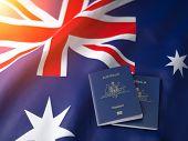 Passport of Australia on the australian flag. Getting a passport of Australia,  naturalization and i poster