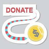 Donate Button With Dollar Sign. Help Green Sticker. Gift Charity. Isolated Support Design. Contribut poster