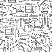 Construction Diy Tools Seamless Pattern. Vector Thin Line Tools Icons Background Of Handyman Carpent poster