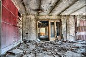 Chernobyl area. Lost city of Pripyat. Modern ruins, Theatre indoor. Ukraine, Kiev region