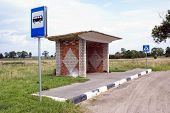 stock photo of ares  - Bus stop in rural ares Kaliningrad region Russia - JPG