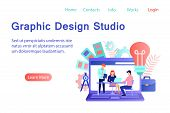 Graphic Design Studio Banner In Flat Style. Creative Designers Team Working Together On Laptop Scree poster