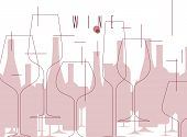 Wine. Background With Bottles And Wine Glasses. Design Element In Modern Style For Tasting, Menu, Wi poster