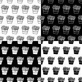 Cute Cartoon French Fries Pattern Set With Hand Drawn French Fries. Sweet Vector Black And White Fre poster