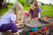 Two Funny Little Girls Playing In A Large Wet Mud Puddle On Sunny Summer Day. Children Getting Dirty poster