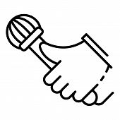 Rap Microphone Icon. Outline Rap Microphone Icon For Web Design Isolated On White Background poster