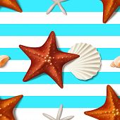 Seamless Summer Texture With Starfishes. Vector Illustration With Realistic Seashells And Starfishes poster
