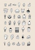 Sketch Dessert. Cake, Pastry And Ice Cream, Strudel And Muffin. Hand Drawn Fruit Desserts Vector Set poster