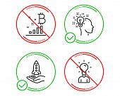 Do Or Stop. Idea, Bitcoin Graph And Crowdfunding Icons Simple Set. Education Sign. Creative Designer poster