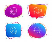 Face Declined, Oil Drop And Face Id Icons Simple Set. Identification Error, Serum, Identification Sy poster