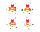 Honey Bees Icons. Bumblebees Symbols. Flying Insects With Sting Signs. Random Dynamic Shapes. Gradie poster