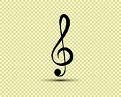 Musical Vector Treble Clef, Icon, Silhouette. The Object Is Isolated On A Transparent Light Backgrou poster