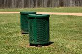 Green Trash Bins In A Park