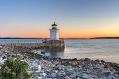 South Portland, Maine, USA with the Portland Breakwater Light at dawn. poster
