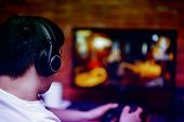 Technology, Gaming, Entertainment, Play And People Concept Young Man In Headset With Controller Game poster