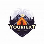 Logo For Mountain Adventure , Camping, Climbing Expedition. Vintage Vector Logo And Labels, Icon Tem poster