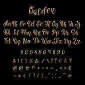 Calligraphic Golden Letters And Numbers. Luxury Elegant Gold Vector Font Script. Golden Alphabet Cal poster