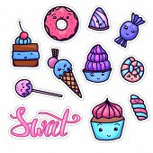 Colorful Set Of Cute, Kawai Sweets And Confection And With Sweet Hand Drawn Lettering. Hand Drawn Ch poster