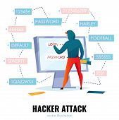 Hacker Password Composition With Hacker Attack Headline And Man Makes Password Guessing Vector Illus poster