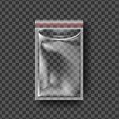 Plastic Zipper Vector. Transparent Zip Wrap. Empty Product Polyethylene Mock Up Template. Nylon Doy  poster