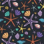 Sea Seamless Vector Pattern. Ocean Tropicar Exotic Illustration With Sea Shells And Sea Stars In Dif poster