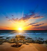 Picturesque Seascape. Sunrise Over The Ocean, Sandy Beach With Coral Riffs. poster