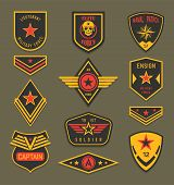 Set Of Isolated Navy Clothing Badges Or Army Apparel Signs, Naval Insignia With Ribbon And Star, Mil poster