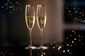 A Pair Of Glasses Of Champagne In The Interior. Festive Picture Of Two Wine Glasses With Sparkling C poster