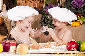 Siblings Cooking In Chef's Hats