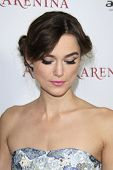 LOS ANGELES, CA - NOVEMBER 14: Actress Keira Knightley attends the premiere of Focus Features' 'Anna