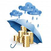 Money under the umbrella. Vector illustration on the theme of financial guarantee