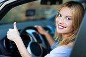 picture of steers  - Smiling young woman sitting in car - JPG