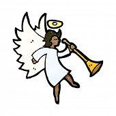 stock photo of angel-trumpet  - angel with trumpet cartoon - JPG