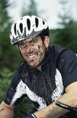 Man With Dirt On Face After Biking