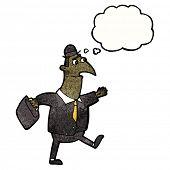 cartoon banker walking to work