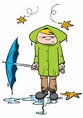 stock photo of wet pants  - cartoon illustration of a young man in autumn clothes on a rainy autumn day - JPG