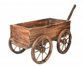 Vintage Wooden Cart Isolated On White