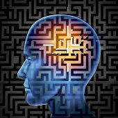 stock photo of cognitive  - Brain search and human intelligence in regards to research in finding solutions through creative paths and overcoming challenges and obstacles to mental health issues with a glowing maze or labyrinth on a head - JPG