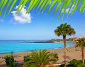 Las vistas beach Arona in costa Adeje Tenerife south at Canary Islands [photo-illustration]