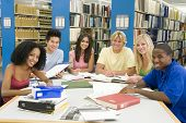 foto of young adult  - Six people in library studying - JPG