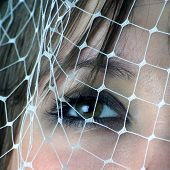 Woman Looking Through Net poster