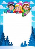 Winter theme frame 1 - vector illustration.