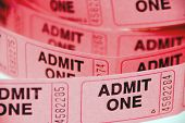 stock photo of school carnival  - A small roll of retail admission tickets - JPG