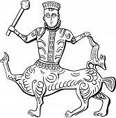 stock photo of scepter  - Vintage king centaur with scepter in his hand - JPG