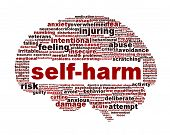 Self-harm mental health symbol isolated on white
