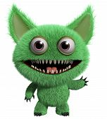 picture of gremlins  - 3 d cartoon cute green gremlin monster - JPG