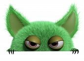 foto of troll  - 3 d cartoon cute green gremlin monster - JPG